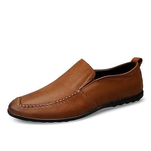 Apragaz Mocasines de tacón Plano Respirables Casuales de los Hombres del Cuero cabelludo del resbalón en los Zapatos cómodos del Barco del penique: ...