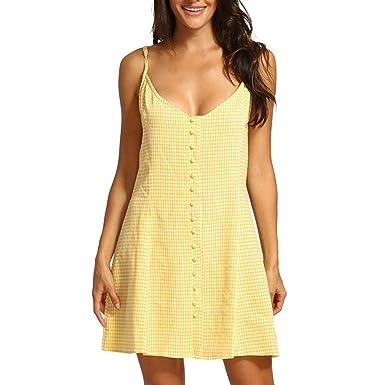 DOGZI Mujer Verano 2019 Vestidos Mujer Casual Vestido Fiesta Mujer Vestido sin Mangas sin Espalda de Button Dots Vestidos Largos Verano Vestidos Mujer ...