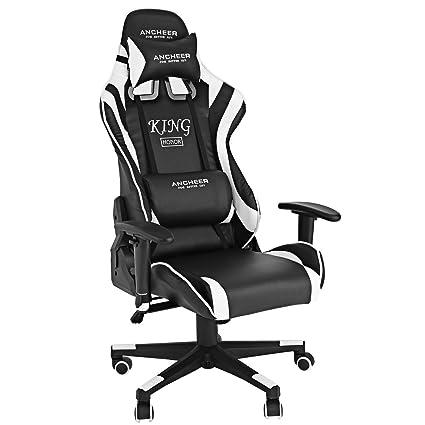 AIMADO Silla Oficina con Ruedas Ergonomica, Gaming Chair con reposabrazos Silla Escritorio Capacidad de Carga