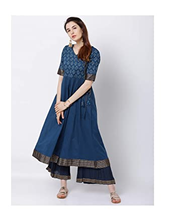 ab4c77421acb4 Amazon.com  HIRAL DESIGNER Anarkali Kurtis Dress Women Navy Blue Printed  Anarkali Kurta Indian Women Cotton Long Anarkali Kurti  Clothing
