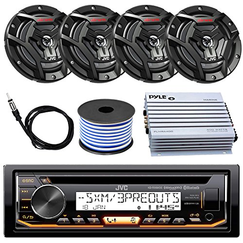 JVC Marine Boat Yacht Radio Stereo CD Player Receiver Bundle Combo with 6.5
