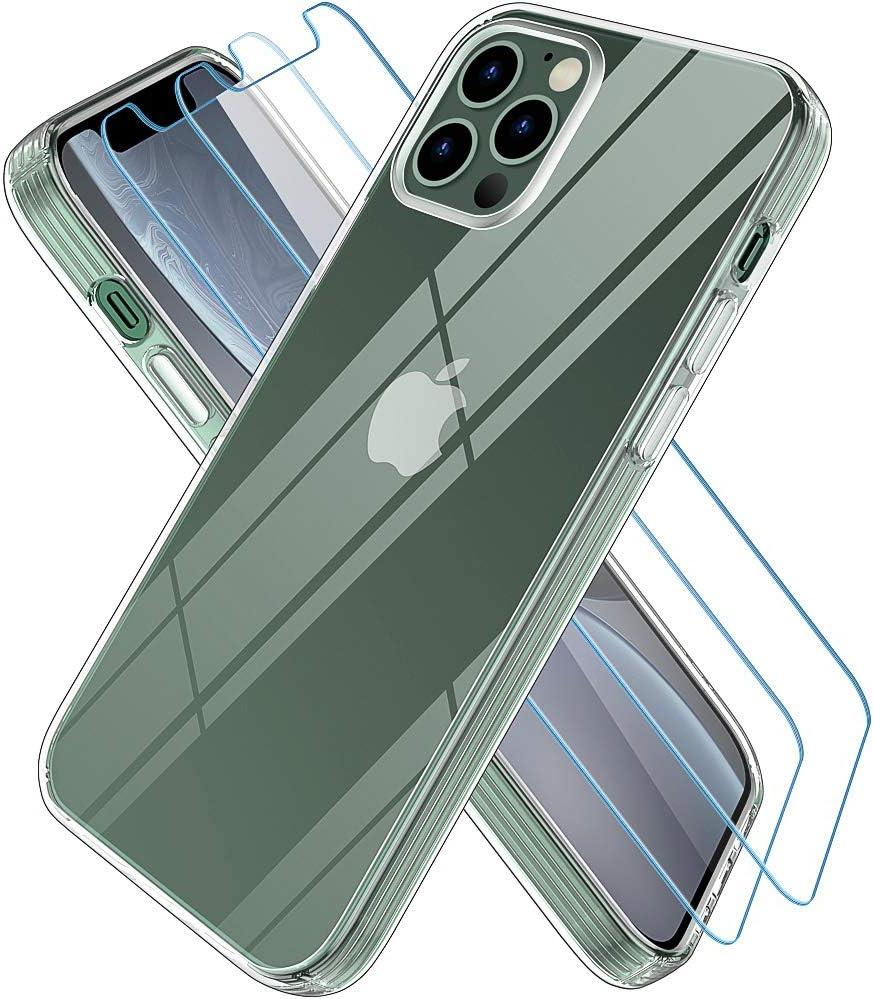 Wiselead Funda para iPhone 12 Pro MAX con 2 Protectores de Pantalla, Anti-Arañazo Funda para Carcasa iPhone 12 Pro MAX - 6.7 Pulgadas Transparente