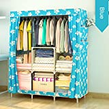 HMANE Vintage Portable Clothes Closet Wardrobe Steel Tube Fabric Clothes Storage Organizer Portable Closet - (Blue + White)