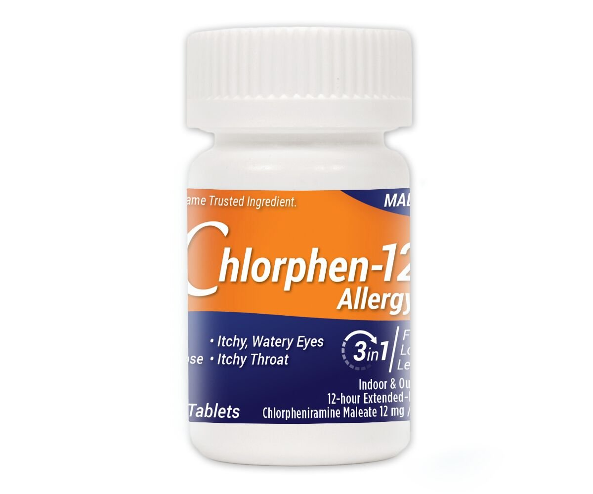 Chlorphen-12 Allergy 100 Count Chlorpheniramine Maleate 12 mg (New Brand that is FDA-Approved Therapeutic Equivalent to Chlor-Trimeton 12 Hour) by Chlorphen-12 Allergy