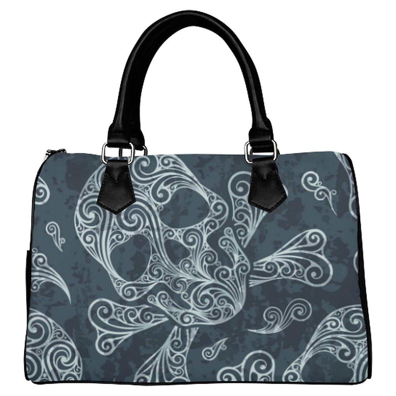 InterestPrint Custom Paisley Skull Leather Canvas Handbag/Tote Bag/Shoulder Bag