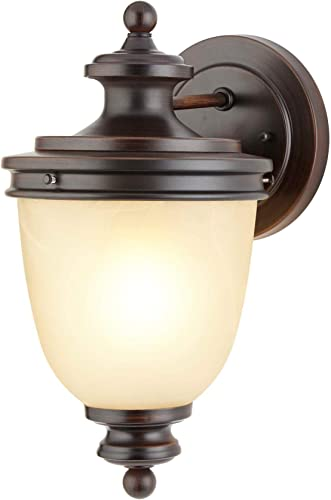 NOMA Outdoor Wall Lantern Waterproof Outdoor Down-Facing Exterior Lights for Front Door, Backyard, Garage, Patio or D cor Antique Bronze Finish