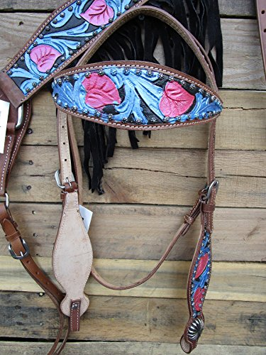 WESTERN HEADSTALL BREASTCOLLAR TURQUOISE FLORAL TOOLED PAINTED BLUE PINK BLACK FRINGE SHOW HORSE LEATHER BRIDLE SET