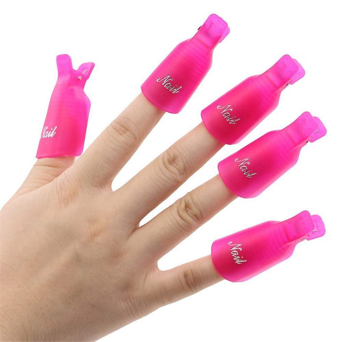 IME Nail Polish Remover Clips Set, Nails Art Gel Cap Soak Off Clip UV Manicure Acrylic Nails Wrap Tool Rose Red Colour10pcs