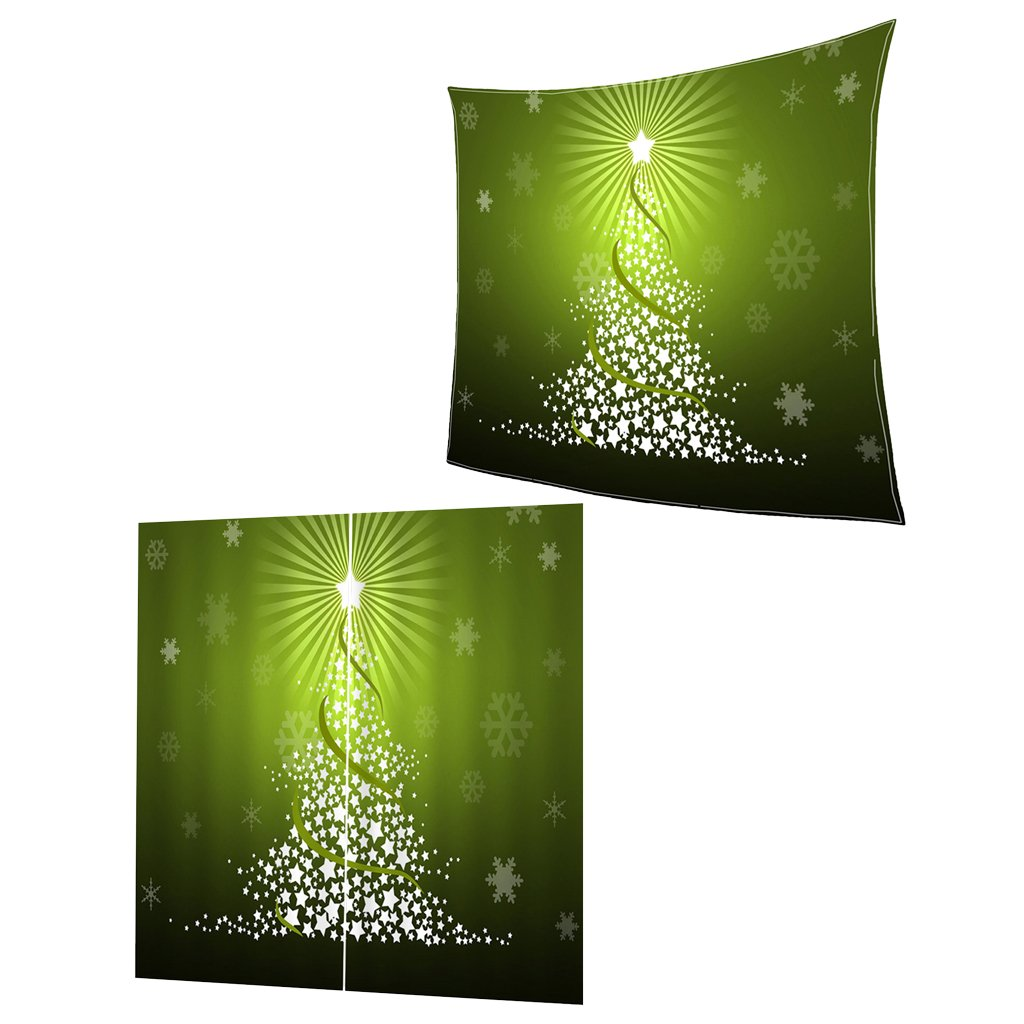 Dovewill Christmas Themed Fleece Blanket & Window Curtains Drapes for Xmas Home Bedroom Decoration Christmas Holiday Gifts, 15 Styles - 6#