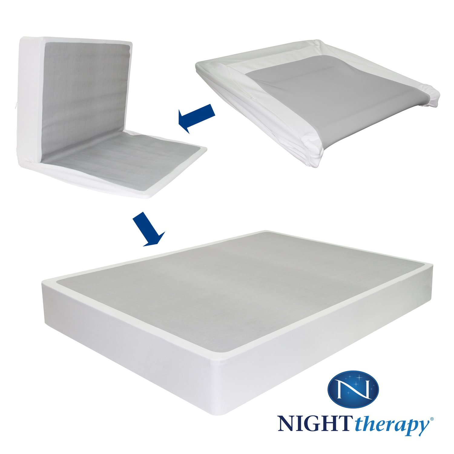 "Amazon.com: 14"" Night Therapy Deluxe Grand Memory Foam Mattress & Bi-Fold® Box  Spring Set –Queen: Kitchen & Dining"