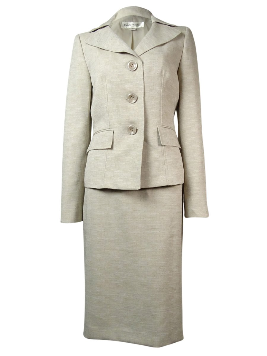 Evan Picone Womens Classic Time 2PC Knee-Length Skirt Suit Beige 12