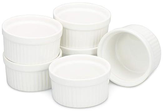 COM-FOUR® 6 Cuencos Ragout Fin en blanco, horno para hornear como moldes de soufflé, moldes para pasteles, por ejemplo, flan (06 piezas)