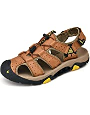 QinMei Zhou Sandals for Men Outdoor Water Shoes Lace Up Style OX Leather Hook&Loop Strap Hollow Pure Colors