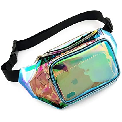 9ca4aba17540 Holographic Fanny Pack, Veckle Clear Fanny Pack Shiny Neon Transparent  iridescent Fanny Pack for Women