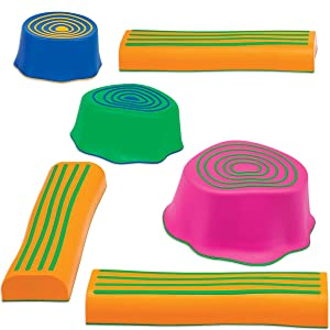 Edx Education Step-A-Trail - 6 Piece Obstacle Course For Kids - Indoor and Outdoor - Build Coordination and Confidence - Physical and Imaginative Play