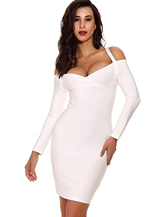 62a37caf72eb Maketina Women's Long Sleeve Halter Cold Shoulder Sexy Bodycon Homecoming Bandage  Dress White XS