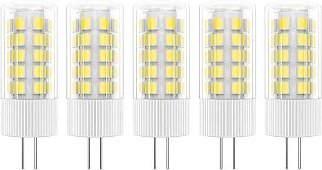 5X G4 Bombilla LED 5W Bombilla L/ámpara 51 SMD 2835LEDs Blanco C/álido 3000K Bombilla Iluminaci/ón 500LM Equivalente a Hal/ógenas 50W AC//DC12V