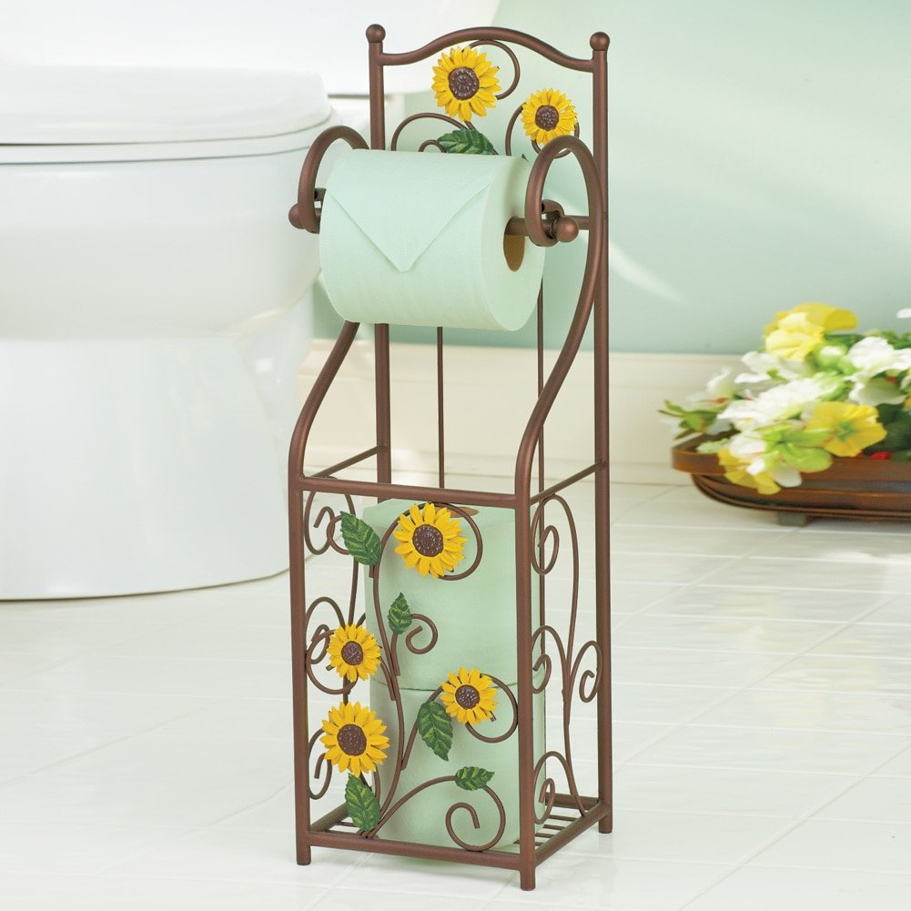 Sunflower bathroom accessories - Sunflower Scroll Toilet Paper Holder