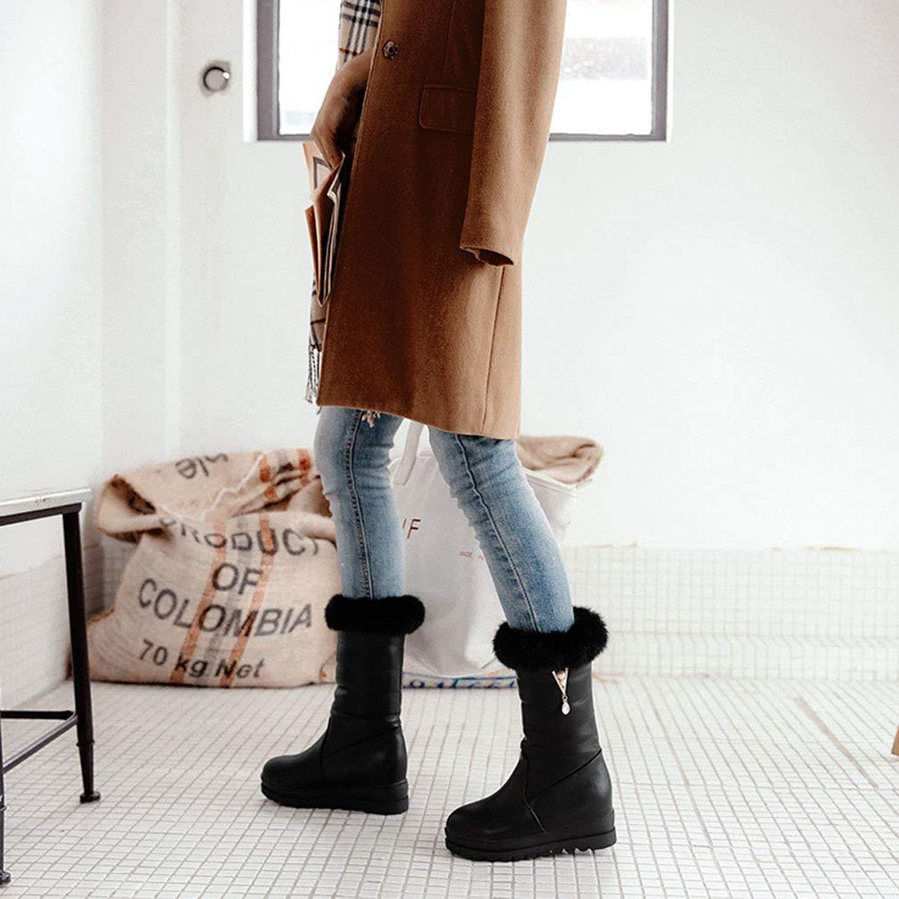 Hy 2018 Winter Frauen Frauen Frauen Schnee Stiefel Stiefel Winter Künstliche PU Flache Stiefelies Dicken Boden Warme Große Größe Mitte Stiefel Outdoor Ski Schuhe (Farbe   Schwarz Größe   33) 87aab6