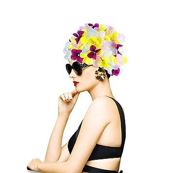WINOMO Mujeres Floral Petal Swim Cap Gorro de natación de la Flor Gorro de baño Gorras