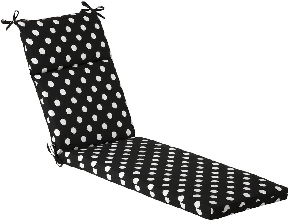 Pillow Perfect Indoor Outdoor Polka Dot Chaise Lounge Cushion, 72.5 in. L X 21 in. W X 3 in. D, Black White