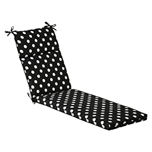 Pillow Perfect Indoor/Outdoor Polka Dot Chaise Lounge Cushion, 72.5 in. L X 21 in. W X 3 in. D, Black/White