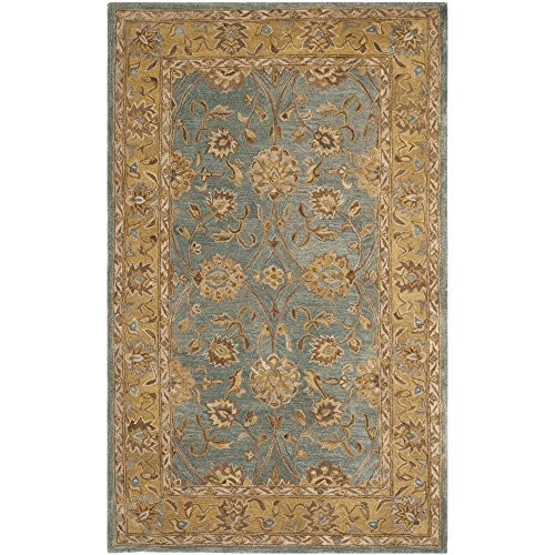 Safavieh Anatolia Collection AN580G Handmade Traditional Oriental Blue and Green Wool Area Rug (5' x 8') ()