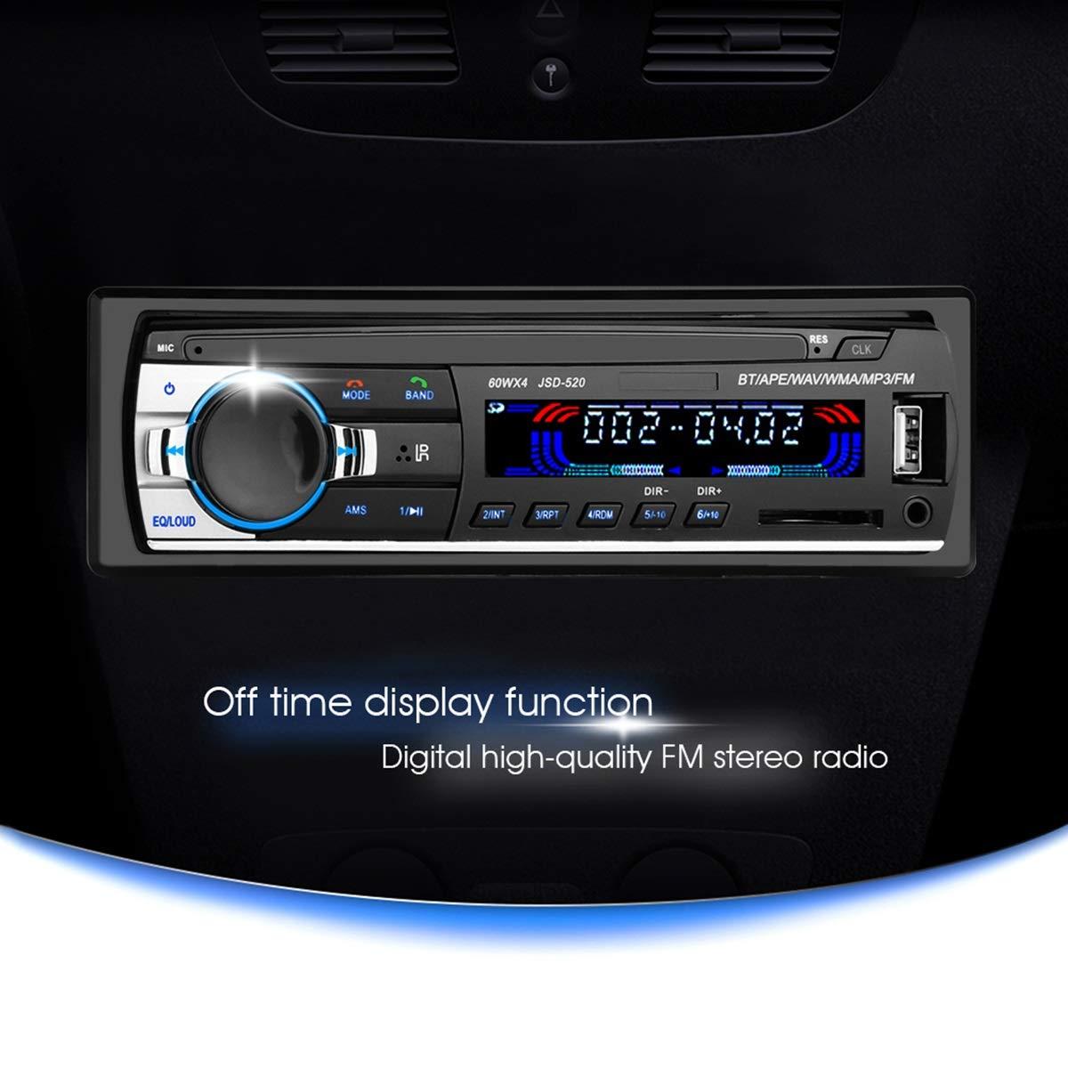 Wallfire Altoparlante per Auto Autoradio Autoradio JSD 520 12V Bluetooth Car Stereo in-Dash FM Aux Input Receiver Autoradio Player