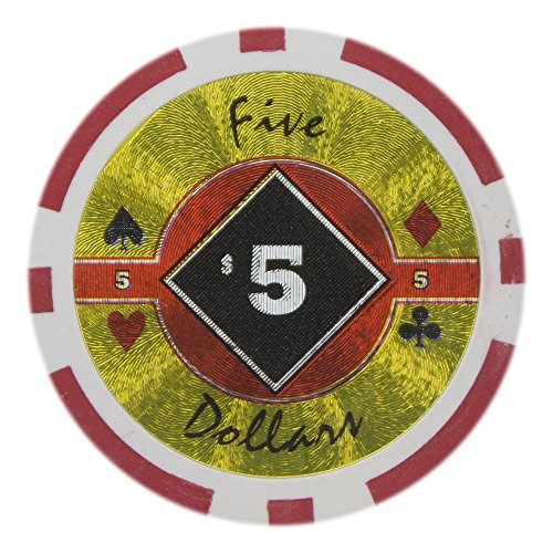Brybelly Black Diamond Poker Chip Heavyweight 14-gram Clay Composite - Pack of 50 ($5 Red) ()