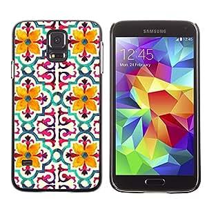 Be Good Phone Accessory // Dura Cáscara cubierta Protectora Caso Carcasa Funda de Protección para Samsung Galaxy S5 SM-G900 // Flower Stylized Pattern Yellow