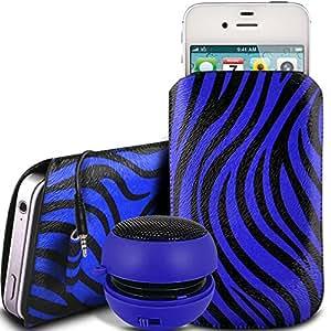 N4U Online - Nokia Lumia 635 protección PU Zebra Diseño deslizamiento cordón tirador de la cremallera en la caja de la bolsa con cierre rápido y 3.5mm recargable Mini altavoces - azul