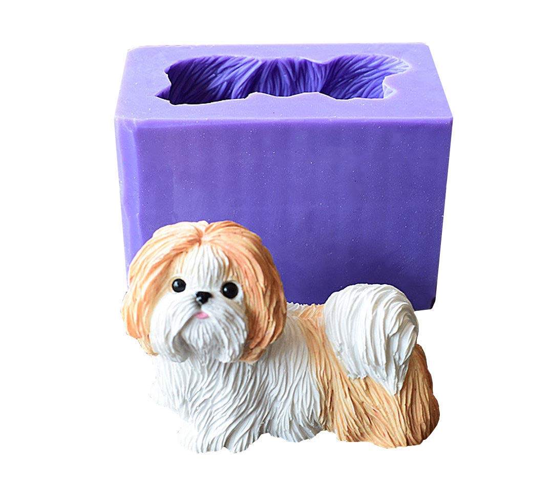 Runloo Cute Shih Tzu Dog Silicone Mold For a Puppy Chocolate Moulds Dog Soap Molds by Runloo