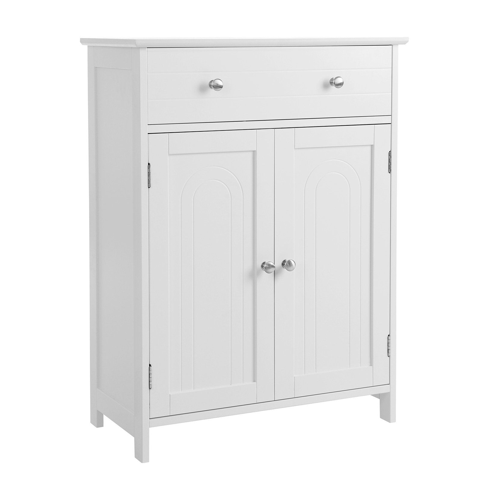 SONGMICS Free Standing Bathroom Cabinet with Large Drawer and Adjustable Shelf, Kitchen Cupboard, Wooden Entryway Storage Cabinet White, 23.6''L x 11.8''W x 31.5''H, UBBC61WT