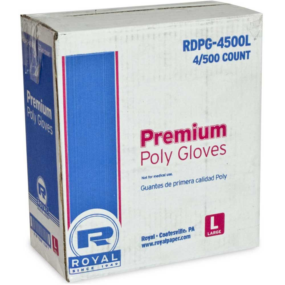 Royal Poly Large Gloves, 500 count per pack -- 4 per case.