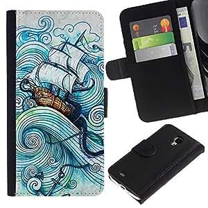 sail ship boat sea storm ocean captain Colorida Impresión Funda Cuero Monedero Caja Bolsa Cubierta Caja Piel Id Credit Card Slots Para Samsung Galaxy S4 Mini i9190 / i9195 (Not For Galaxy S4!!!)
