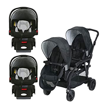 Graco Click Connect Convertible Double Stroller 2 Car Seats