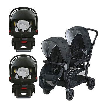 Graco Click Connect Convertible Double Stroller 2 Car Seats
