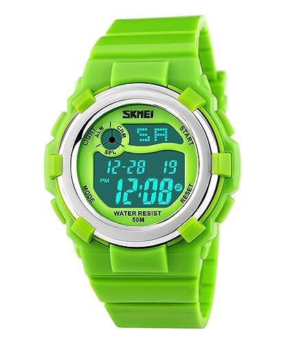 Para niños SKMEI SK1161B color multifunción Bright deportes al aire libre resistente al agua reloj Digital para aprender la hora verde lima: Amazon.es: ...