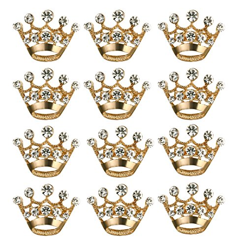Princess Crown Pin (ULTNICE 12pcs Tiara Crown Brooch Pin Wedding Party Pageant Brooch (Gold))