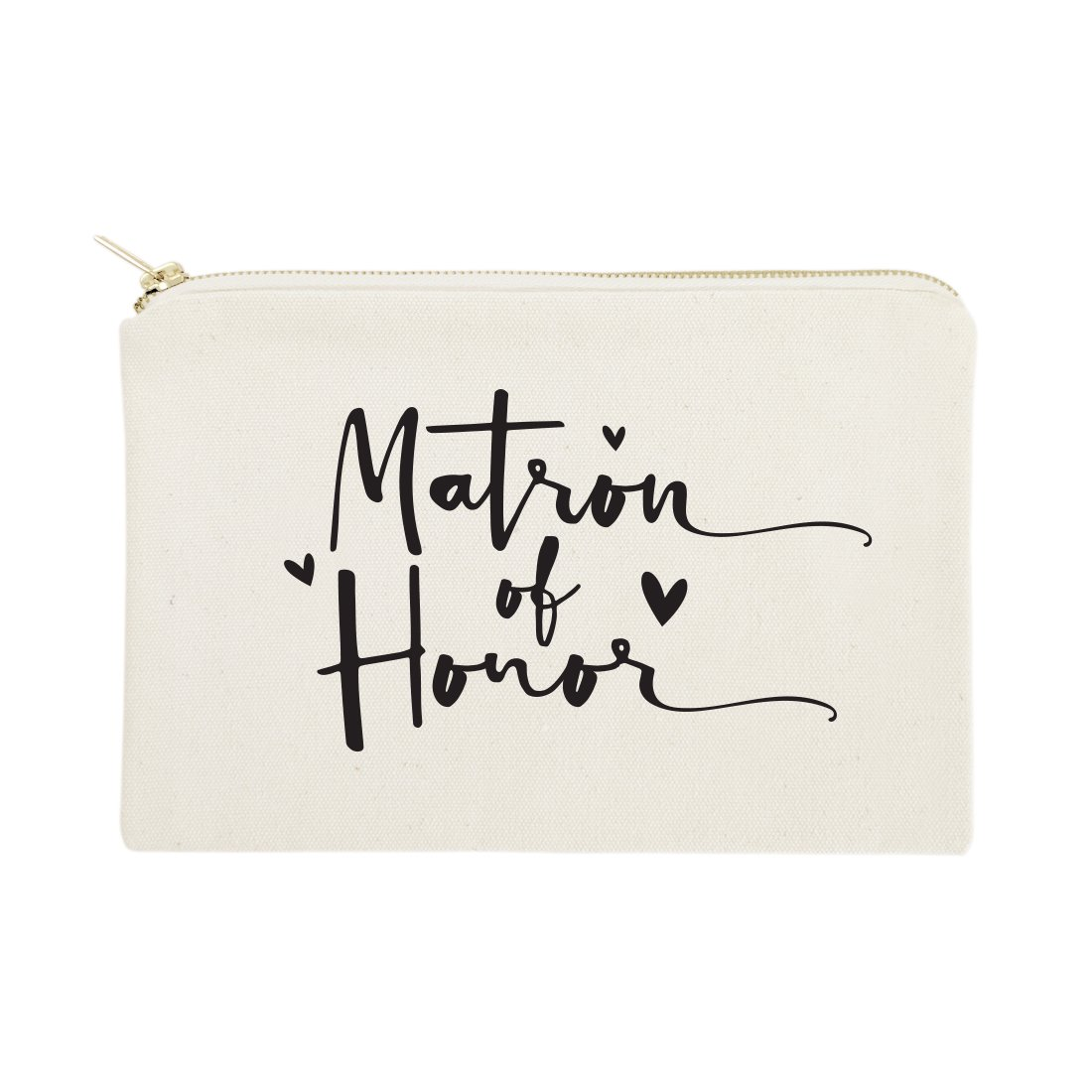 The Cotton & Canvas Co. Matron of Honor Wedding Cosmetic Bag, Bridal Party Gift and Travel Make Up Pouch