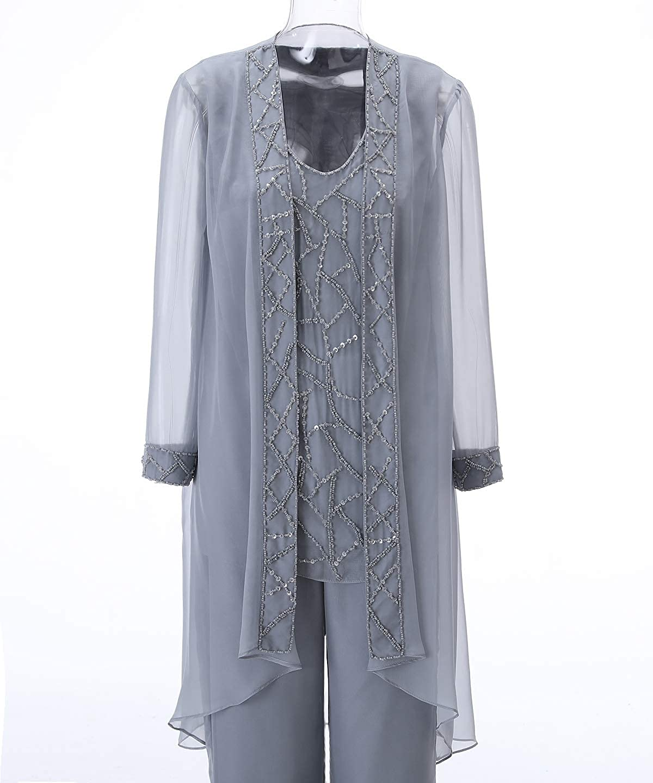 Pretygirl Damen 18 Stück Elegante Pailletten Chiffon Kleid für die  Brautmutter Hose mit Jacke Outfit für Hochzeit