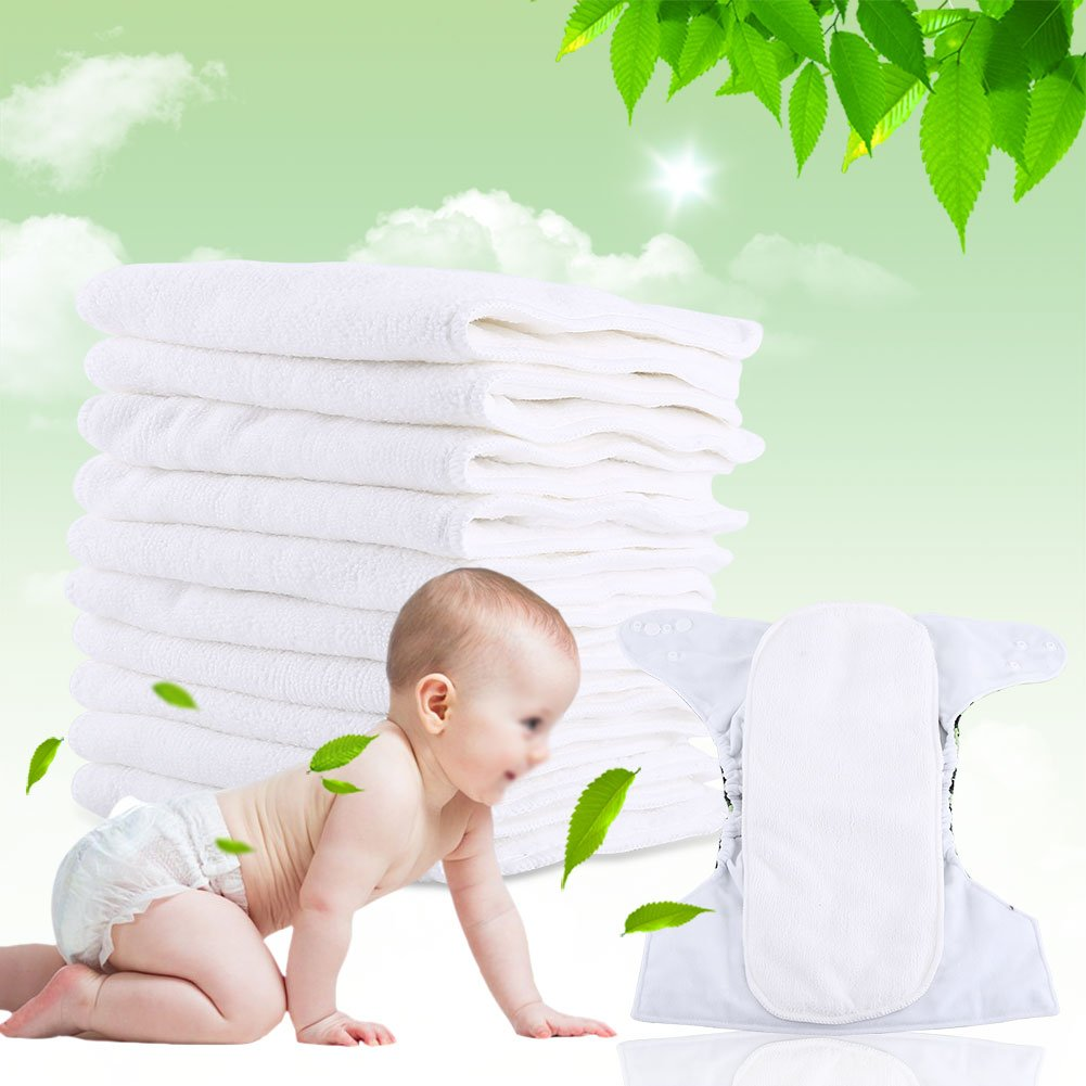 10PCS Baby Washable Reusable 3 Layers Soft Safe Cloth Diaper Pad Insert Nature Nappy Liner Thicker Longer Changing liners for Infant Toddler