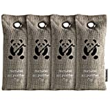 ZooBamboo Natural Air Purifying Bags Activated Bamboo Charcoal Deodorizer Bags. Odor Eliminator Cars, Homes, Closets, Bathrooms Pet Areas. Absorbs Odors Allergens. (4 x 75g)
