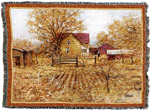 Pure Country Weavers | Homestead Farm Woven Tapestry Throw Blanket with Fringe Cotton USA 72x54