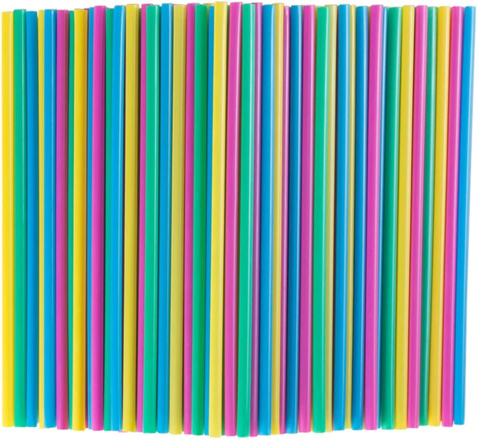 300 Bulk Pack Colorful Compostable Straws 8.3 Inch Long Drinking Straw Eco Friendly Plant-based PLA, Plastic Alternative Straws for Tumbler and Water Bottle