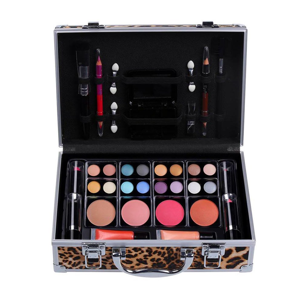 Cameo Cosmetics Premium 51pc Beauty Case Make Up Set with Reusable Aluminum Leopard Case – Eyeshadows, Lipsticks, Blushers, Lip Glosses, Brushes, Mirror Box, Applicators, Pencils