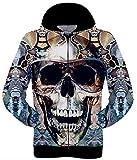 WANSHIYISHE Mens 3D Skull Print Longsleeve Hoodie Jackets Aspic US XL