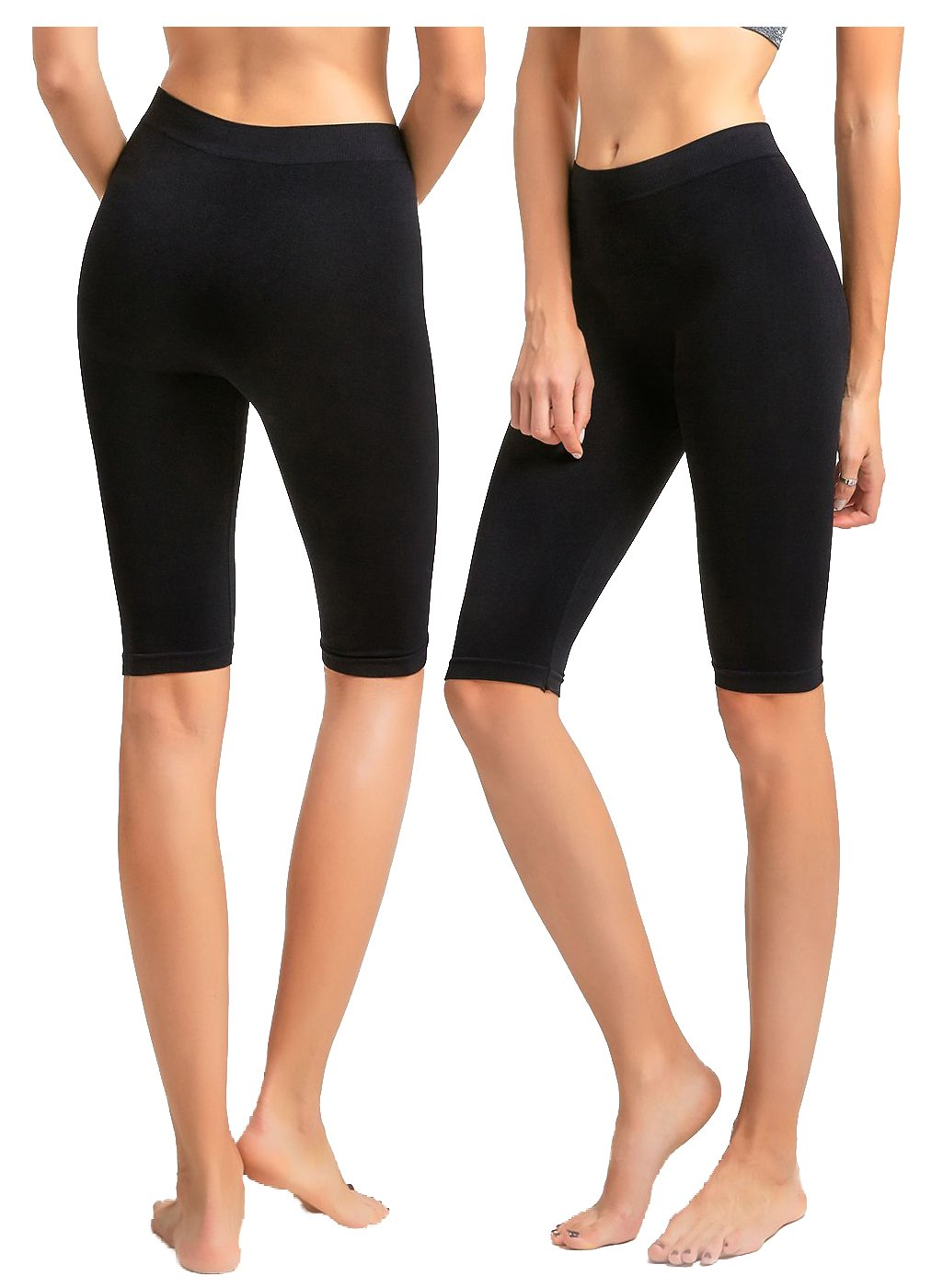 2 Pack Women's Seamless Stretch Yoga Exercise Shorts Black 19''