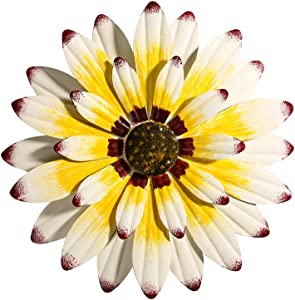 """Yellow/White Metal Flower Wall Decor with Daisy Inspired,12"""" Floral Wall Art Hanging for Home Garden Patio"""