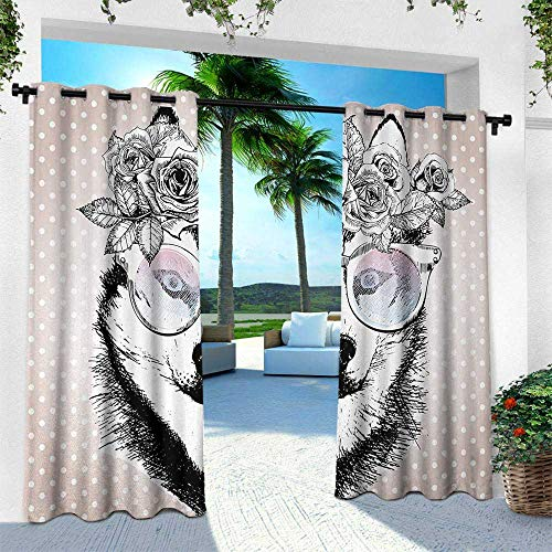 Hengshu Alaskan Malamute, Thermal Insulated Water Repellent Drape for Balcony,Vintage Polka Dots and Dog Wearing Floral Wreath and Sunglasses, W96 x L108 Inch, Rose Gold Black -